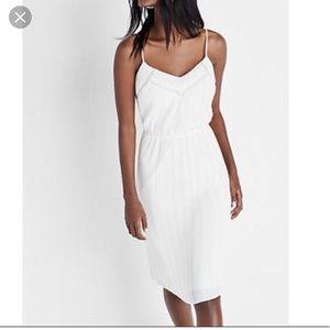 Express white pleated midi dress